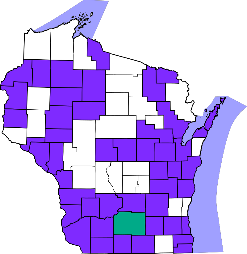 Map of Wisconsin counties contacted by N9UW during the 2016 WIQP